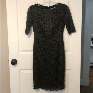 Antonio Melani dark green and black lace dress